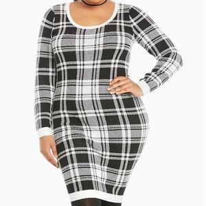 Torrid Stretch Knit Plaid Check Sweater Dress
